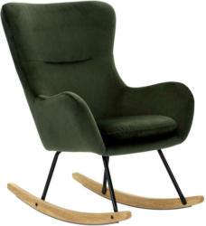 Schaukelstuhl mit Echtholzkufen Rocking Scandi Webstoff Grün