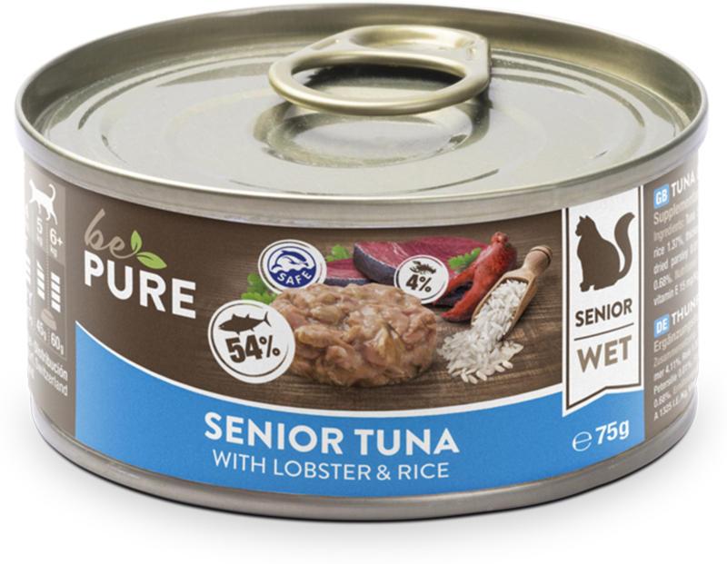 bePure Katzennassfutter Senior Thunfisch & Hummer 24x75g