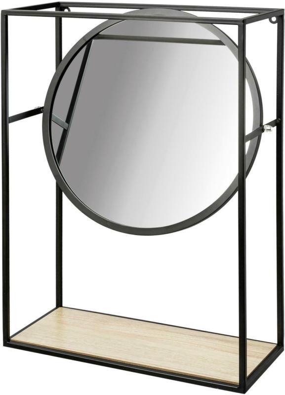 Dekoobjekt mit Spiegel Livi aus Metall in Schwarz
