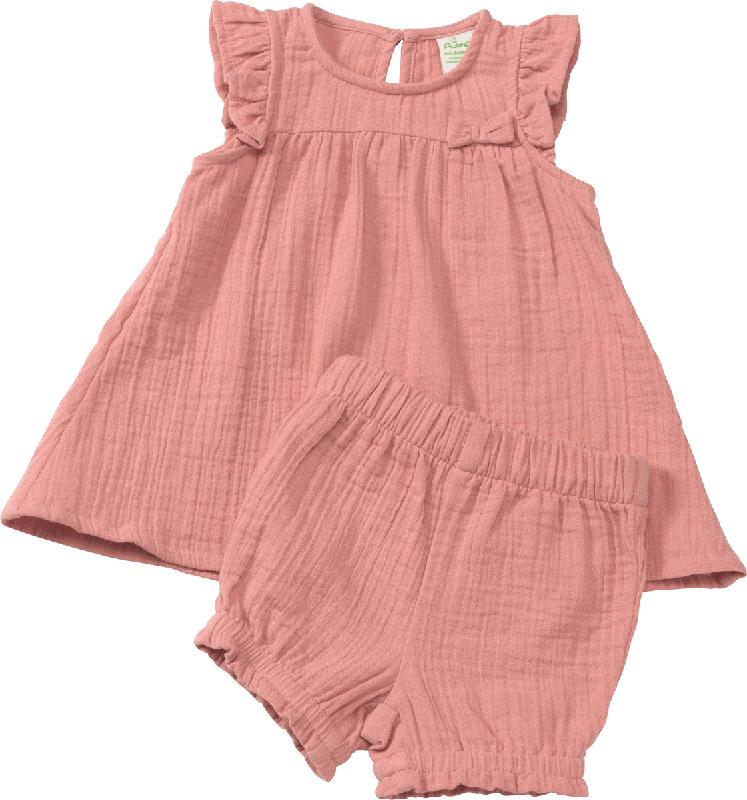 ALANA Set aus Baby Shirt und Shorts, Gr. 68, in Bio-Baumwolle, rosa