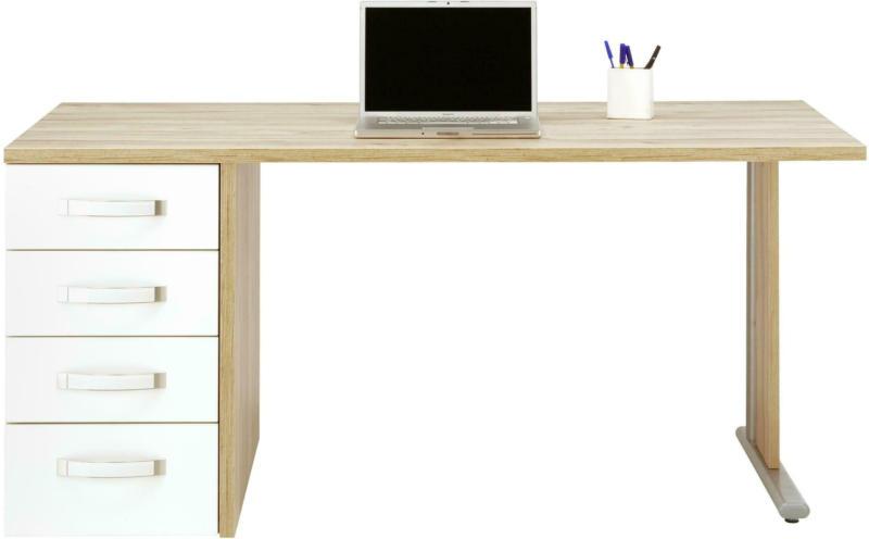Schreibtisch in Weiß/Eichefarben