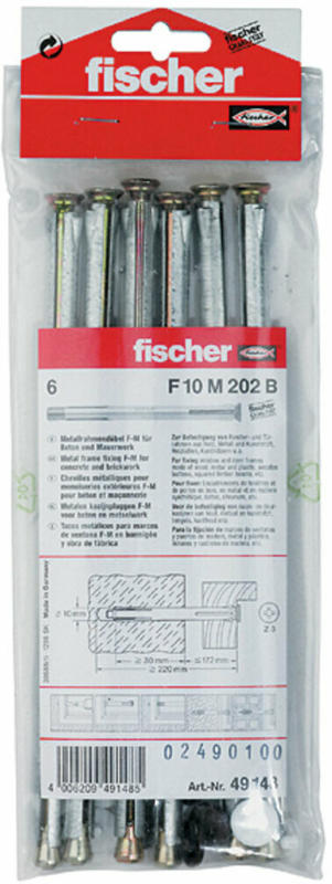 "Fensterrahmendübel ""F 10 M"", 202 mm, 6 Stück 12 mm"