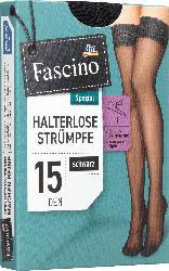 Fascino Halterlose Strümpfe mit Spitzenband, 15 den, Gr. 50/52, schwarz