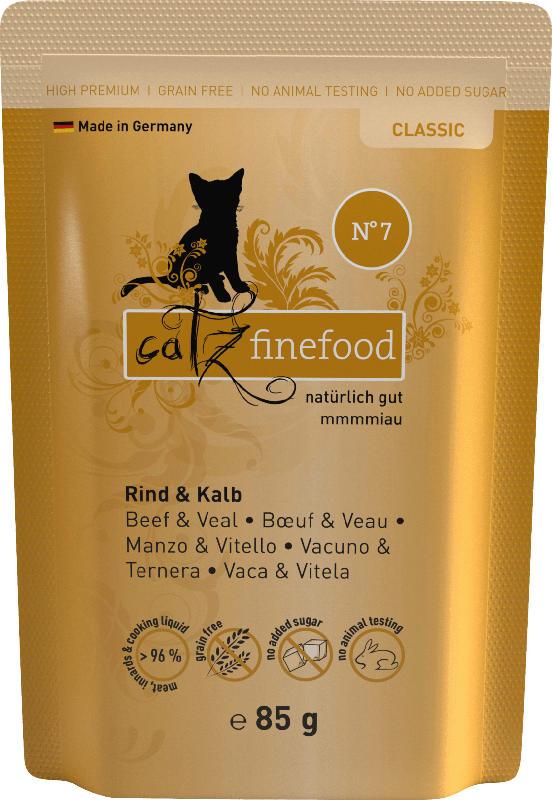 catz finefood Nassfutter für Katzen, Adult, classic No.07 Kalb