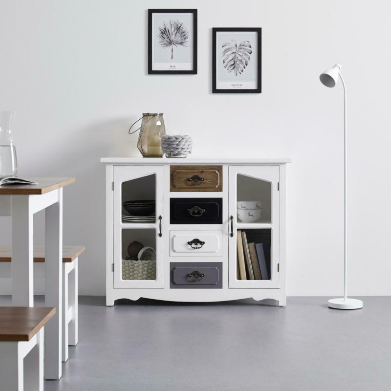 SIDEBOARD in Weiß/Grau/Braun 'Florina'