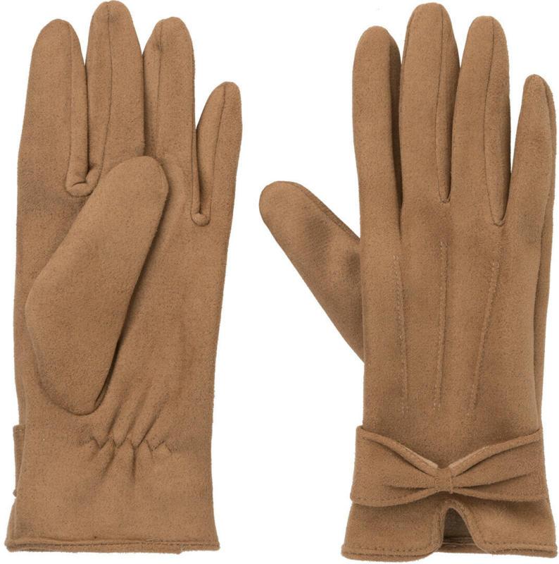 Damen Lederimitat-Handschuhe mit Schleife (Nur online)