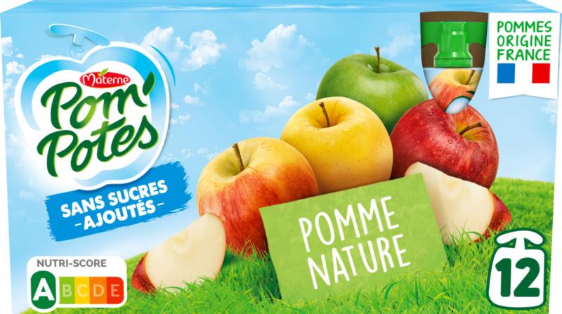 Materne Pom'Potes Trinkbeutel, Apfel nature, ohne Zuckerzusatz, 12 x 90 g