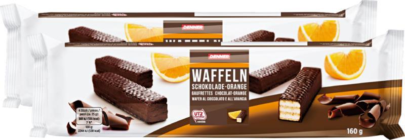 Gaufrettes au chocolat orange Denner, 2 x 160 g
