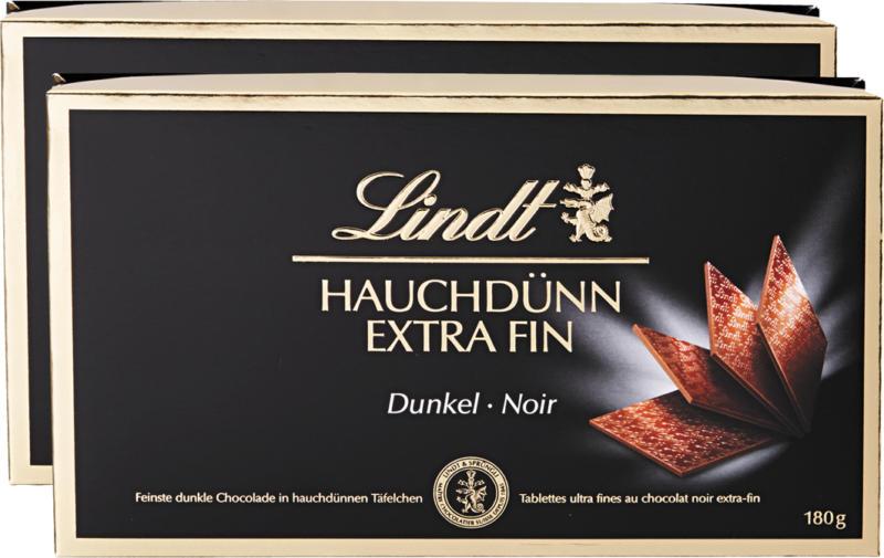 Tablettes Extra Fin Noir Lindt, 2 x 180 g