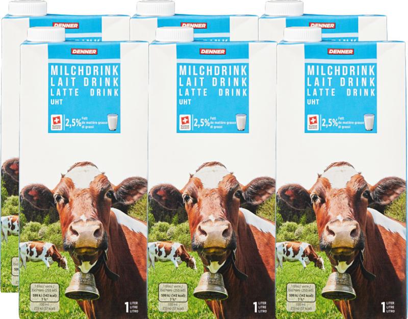 Latte drink Denner, UHT, 2,5% di grassi, 6 x 1 litro