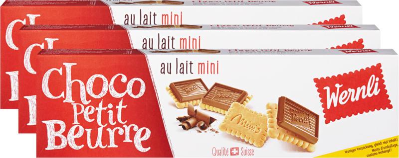 Biscotti Choco Petit Beurre au lait mini Wernli, 3 x 125 g