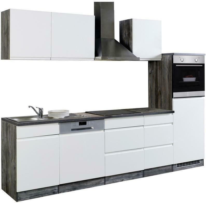 Einbauküche Küchenblock Möbelix Cardiff B: 280cm Weiß/Vintage