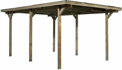 Flachdach-Einzelcarport Holz 300 cm x 500 cm