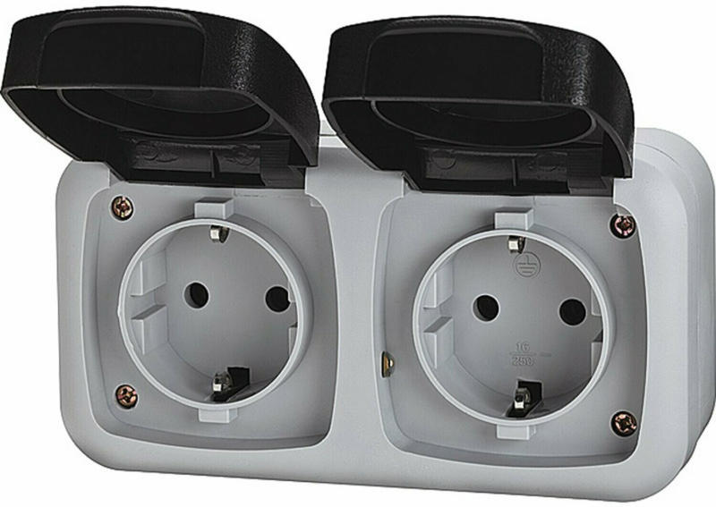 Feuchtraum-Schalterserie Basic 2-fach Grau