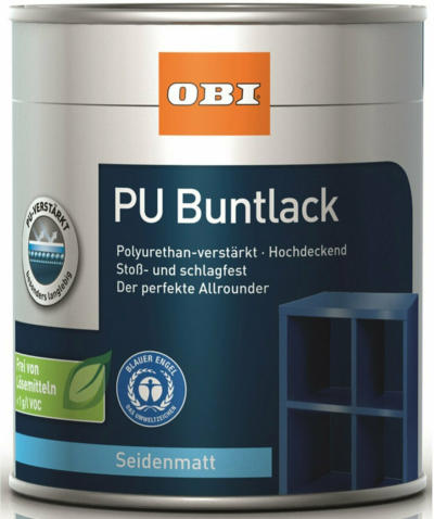 OBI PU Buntlack Tiefschwarz seidenmatt 125 ml