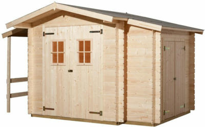 Weka Holz-Gartenhaus Bologna Natur B x T: 340 cm x 200 cm davon 140 cm Anbaudach