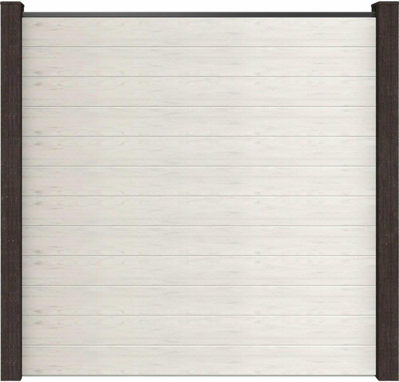 GroJa Steckzaun Solid Quadratisch 180 cm x 180 cm x 1,9 cm Bi-Color Weiß