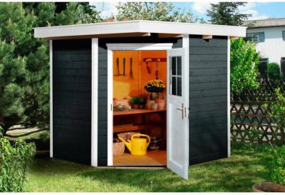 Weka Holz-Gartenhaus Angolo Anthrazit A BxT: 209 cm x 205 cm