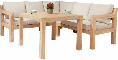 Lounge-Set mit Esstisch Morenci 4-teilig aus Akazienholz FSC®