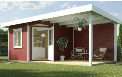 Weka Gartenhaus San Remo A Schwedenrot-Weiß BxT: 541x238 davon 303 cm Terrasse