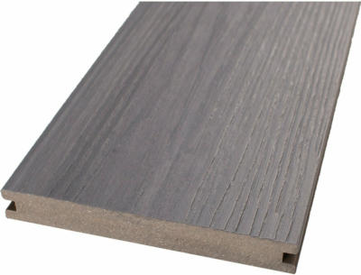 GroJa Quattro Massiv Steingrau/Walnuss beidseitig Holzstruktur 140x20x4000mm