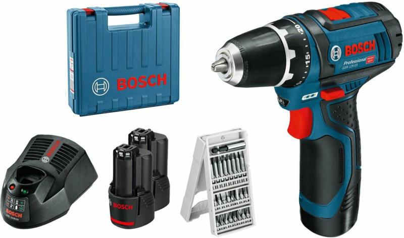 Bosch Professional Akku-Bohrschrauber GSR 12V-15 inkl. 25-tlg. Bit-Set & 2 Akkus