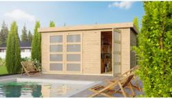 Woodfeeling Holz-Gartenhaus Nürnberg mit Fußboden Natur BxT: 400 cm x 213 cm