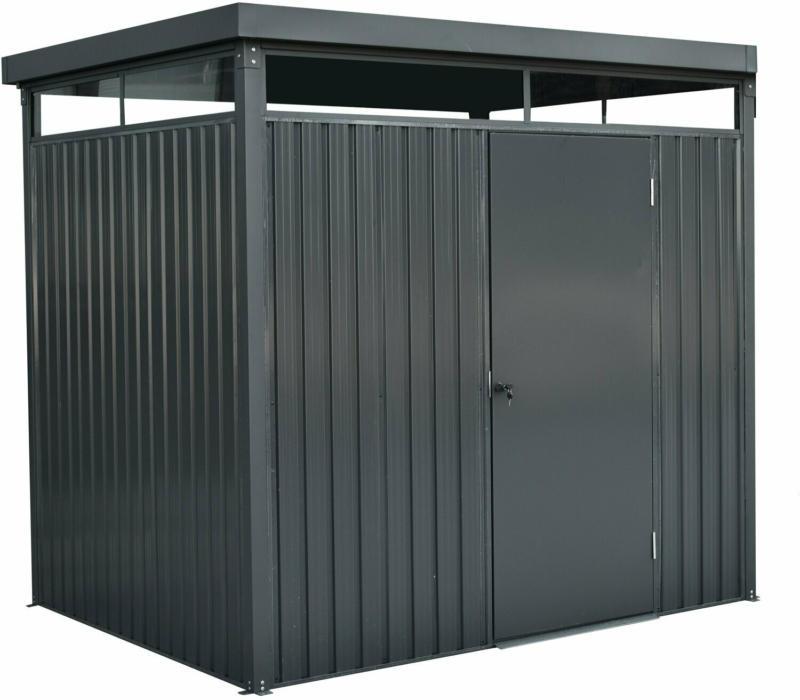 Floraworld Metall-Gerätehaus Stahl Anthrazit 233 cm x 190 cm
