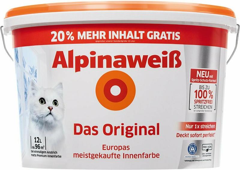 Alpinaweiß Wandfarbe Das Original spritzfrei 10 + 2 l