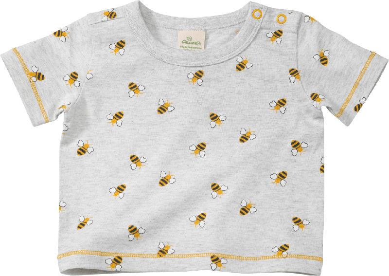 ALANA Baby Shirt, Gr. 68, in Bio-Baumwolle, grau, gelb