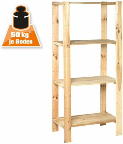 Holz-Schwerlast-Schraubregal FSC® 174 cm x 80 cm x 50 cm Naur