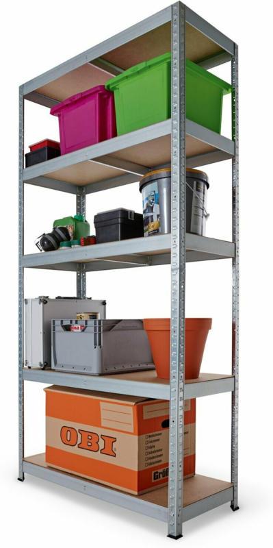 Metall-Schwerlast-Steckregal verzinkt 180 cm x 90 cm x 40 cm
