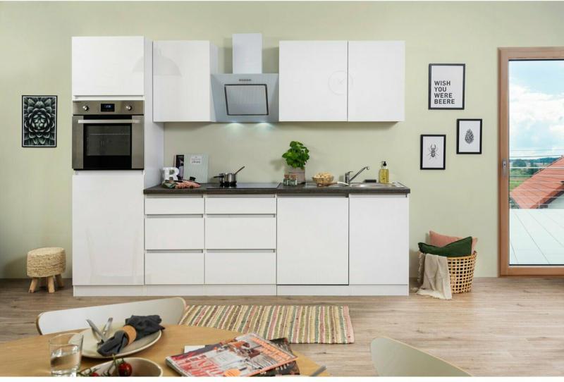 Respekta Küchenzeile GLRP280HWW 280 cm Weiß Hochglanz Granit-Optik Grifflos