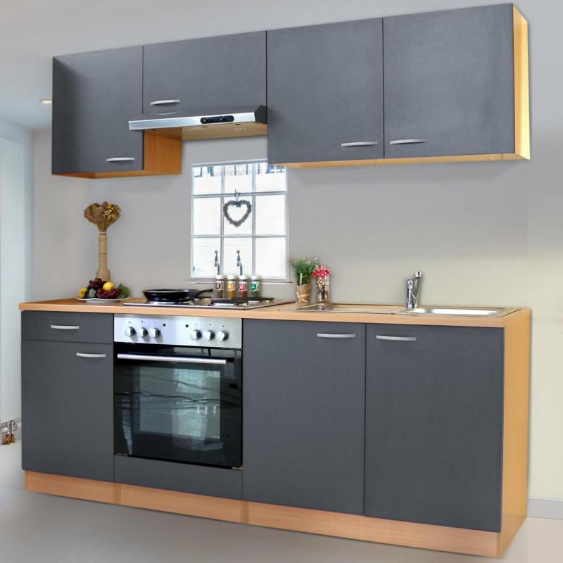 Respekta Küchenzeile KB210BGE 210 cm Grau Buche Nachbildung