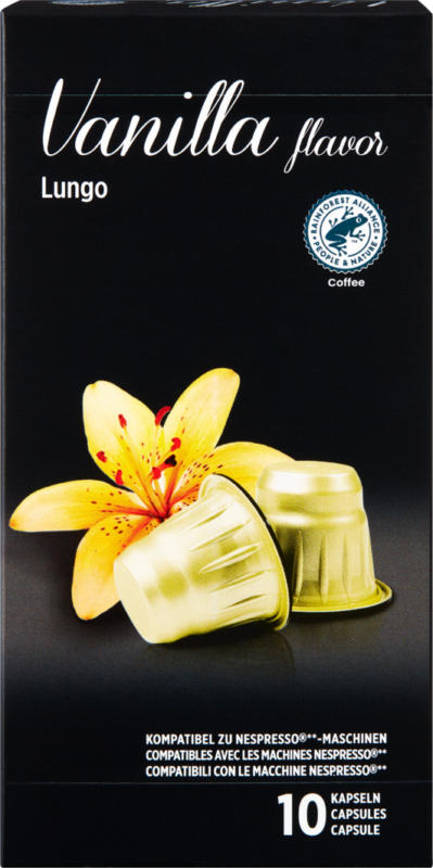 Denner Kaffeekapseln Vanilla, Lungo, kompatibel mit Nespresso®-Maschinen, 10 Kapseln