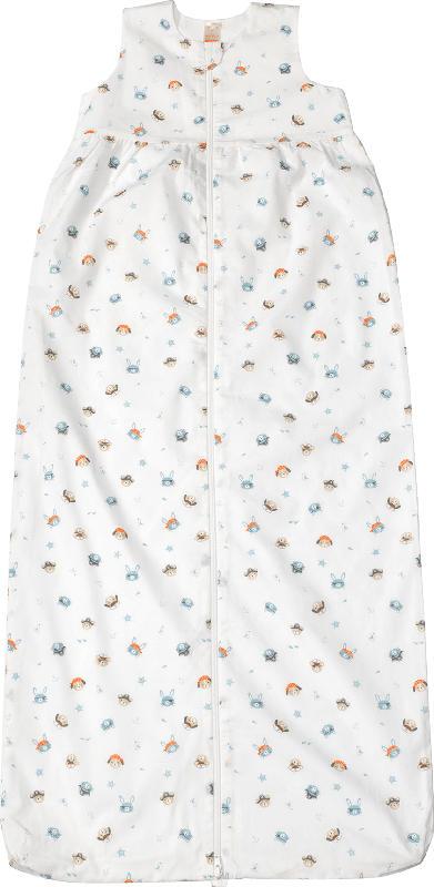 PUSBLU Kinder Schlafsack 0,5 TOG, 110 cm, in Bio-Baumwolle, weiß, blau