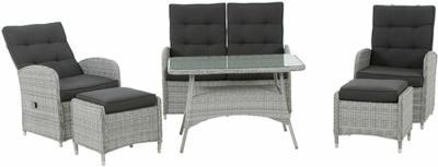 Siena Garden Cordoba Lounge-Set 6-teilig Ice-Grey inkl. Kissen