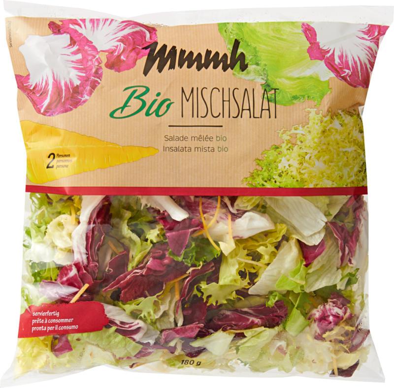 Insalata mista bio Mmmh, pronta per il consumo, provenienza indicata sull'imballaggio, 180 g