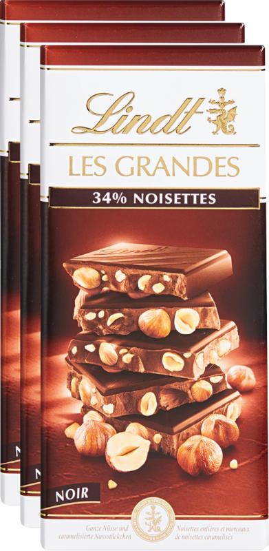 Tavoletta di cioccolata Les Grandes Lindt, Nocciole, Fondente, 3 x 150 g