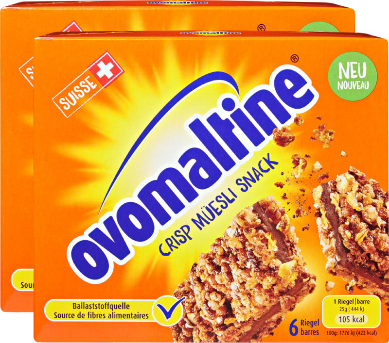 Wander Ovomaltine Crisp Müesli Snack Riegel, 2 x 6 x 25 g