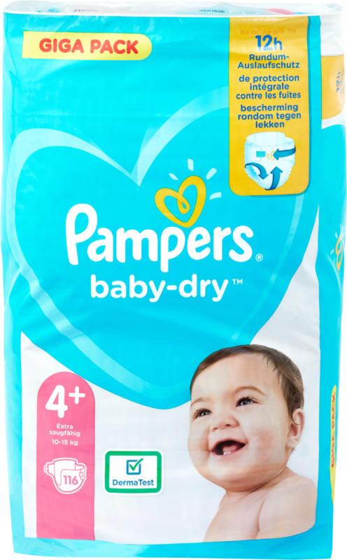 Pampers Baby-Dry Windeln, Grösse 4+ (Maxi Plus), 10-15 kg, Gigapack, 116 Stück