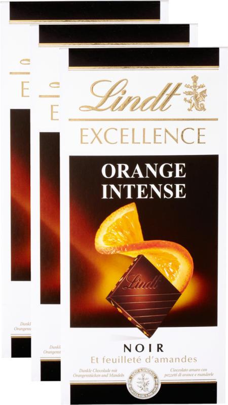 Tavoletta di cioccolata Excellence Lindt, Orange Intense Noir, 3 x 100 g