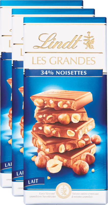 Tavoletta di cioccolata Les Grandes Lindt, Nocciole, Latte, 3 x 150 g