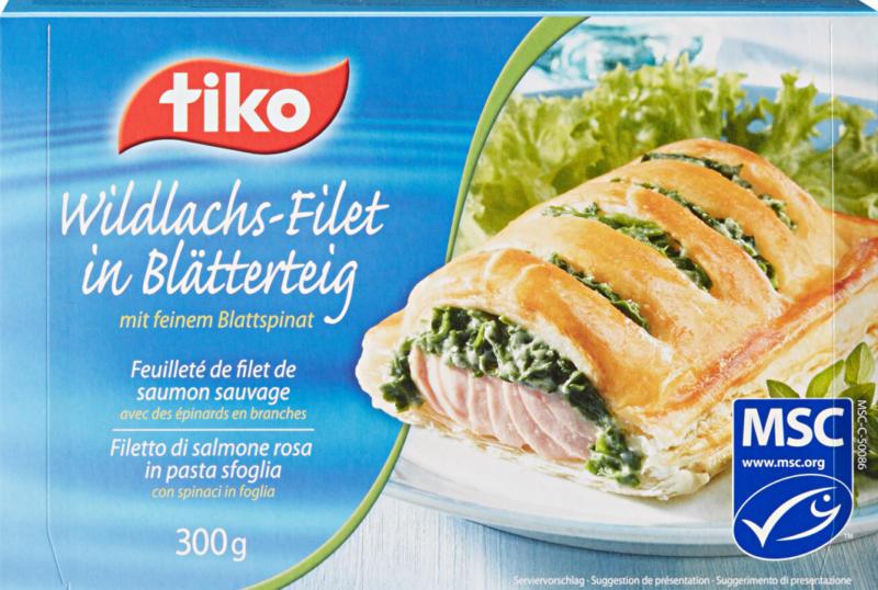 Feuilleté de filet de saumon sauvage Tiko, avec des épinards en branches, Russie/Etats-Unis/Canada, 300 g