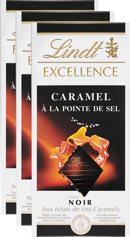 Tablette de chocolat Excellence Lindt, Caramel à la Pointe de Sel, 3 x 100 g