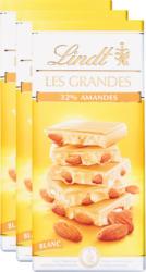 Lindt Les Grandes Tafelschokolade, Mandeln, Weiss, 3 x 150 g