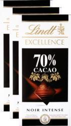 Tavoletta di cioccolata Excellence Lindt, 70% Cacao, Noir Intense, 3 x 100 g