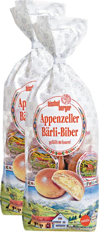 Bischofberger Appenzeller Bärli-Biber minis, gefüllt, 2 x 228 g