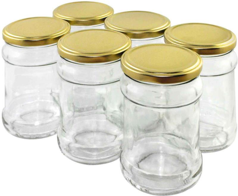 Vasetti da 315 ml 6 pezzi con coperchio / frutta chiaro -