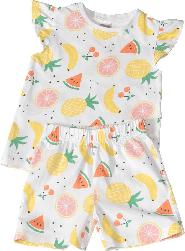 PUSBLU Kinder Schlafanzug, Gr. 92, in Bio-Baumwolle, weiß, bunt
